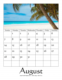 August 2016 Photo Calendar