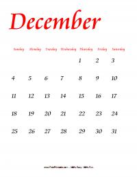 December 2016 Portrait Calendar