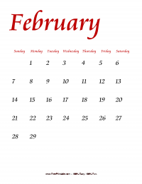 February 2016 Portrait Calendar