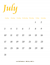 July 2016 Portrait Calendar