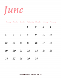 June 2016 Portrait Calendar