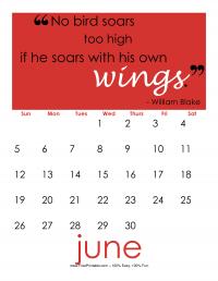 June 2016 Quote Calendar