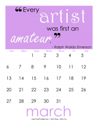 March 2016 Quotation Calendar