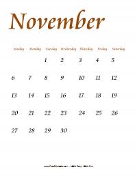 November 2016 Portrait Calendar