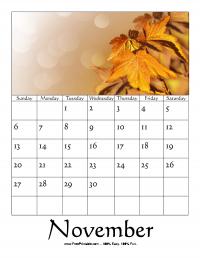 November 2016 Photo Calendar