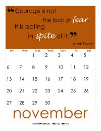 November 2016 Quote Calendar