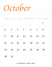 October 2016 Portrait Calendar