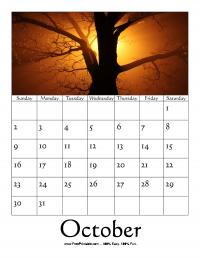 October 2016 Photo Calendar