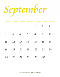 September 2016 Portrait Calendar