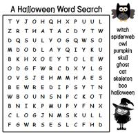 Printable A Halloween Word Search with the Witch and the Owl - Printable Word Search - Free Printable Games
