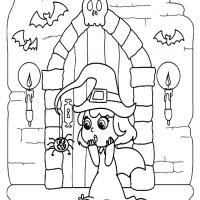 A Witchy Halloween Coloring Sheet