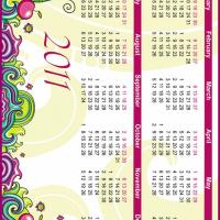 Printable Abstract Color Themed 2011 Calendar - Printable Yearly Calendar - Free Printable Calendars