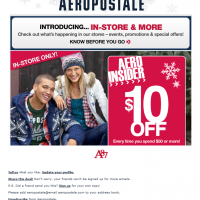 Aeropostale $10 Off Holiday Coupon