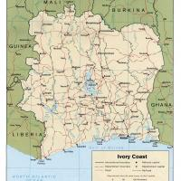Printable Africa- Côte d'Ivoire  Political Map - Printable Maps - Misc Printables