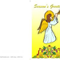Printable Angel Blowing The Trumpet - Printable Christmas Cards - Free Printable Cards
