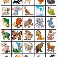 Fun Cartoon Animals Bingo Tiles