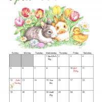Printable April 2009 Easter Bunny Monthly Calendar - Printable Monthly Calendars - Free Printable Calendars