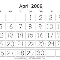 Printable April 2009 Writing Calendar - Printable Calendar Pages - Free Printable Calendars