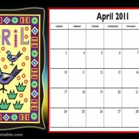 Printable April 2011 Colorful Designed Calendar - Printable Monthly Calendars - Free Printable Calendars