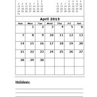 April 2013 Calendar with Holidays