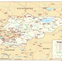 Asia- Krygzstan Political Map