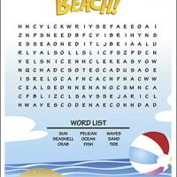Printable At The Beach Word Search - Printable Word Search - Free Printable Games