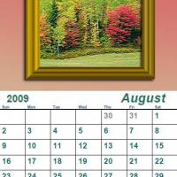 Printable August 2009 Oil Painting Calendar - Printable Monthly Calendars - Free Printable Calendars