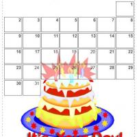 Printable August 2009 Pink Cake Calendar - Printable Monthly Calendars - Free Printable Calendars