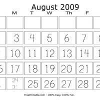 Printable August 2009 Writing Calendar - Printable Calendar Pages - Free Printable Calendars