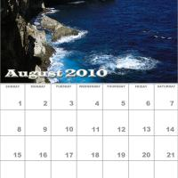Printable August 2010 Nature Calendar - Printable Monthly Calendars - Free Printable Calendars