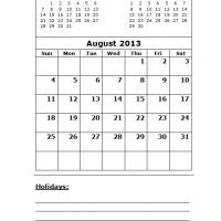 August 2013 Calendar with Holidays