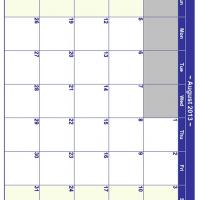 August 2013 Planner Calendar