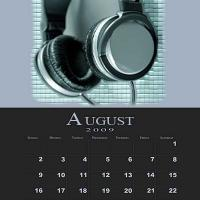 August Music Theme Calendar