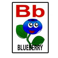 Printable B is for Blueberry Flash Card - Printable Flash Cards - Free Printable Lessons