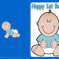Printable Baby Boy First Birthday Card - Printable Baby Cards - Free Printable Cards