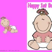 Printable Baby Girl First Birthday Card - Printable Baby Cards - Free Printable Cards