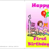 Printable Baby Girl's First Birthday Today - Printable Birthday Cards - Free Printable Cards