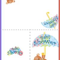 Printable Baby Shower Umbrella Bear - Baby Shower and Christening Invitations Cards - Free Printable Invitations