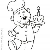 Printable Baker Bear with Birthday Cupcake - Printable Coloring Sheets - Free Printable Coloring Pages
