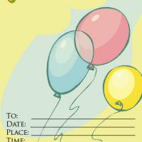 Balloon with Yellow Backgroung Invitation