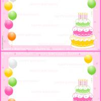 Printable Balloons and Cake Birthday Postcard - Printable Birthday Cards - Free Printable Cards