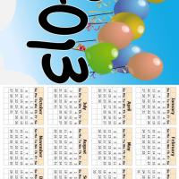 Printable Balloons in the Sky 2013 Calendar - Printable Yearly Calendar - Free Printable Calendars