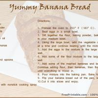Printable Banana Bread Recipe - Printable Recipes - Free Printable Activities