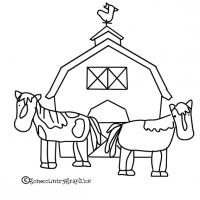 Printable Barn with Horses - Printable Coloring Sheets - Free Printable Coloring Pages