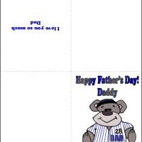 Printable Baseball Bear Dad - Printable Fathers Day Cards - Free Printable Cards