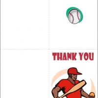 Baseball Player Thank You Card