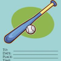 Printable Baseball with Blue Background Invitation - Printable Party Invitation Cards - Free Printable Invitations