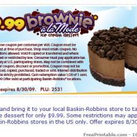 Printable Baskin Robbins Brownie A La Mode For $9.99 Coupon - Printable Discount Coupons - Free Printable Coupons