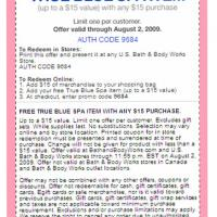 Printable Bath And Body Works Free True Blue Spa Item - Printable Discount Coupons - Free Printable Coupons
