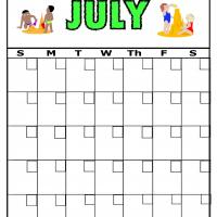 Beach For July Blank Calendar
